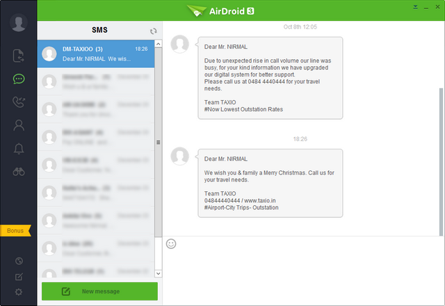 AirDroid 3 SMS