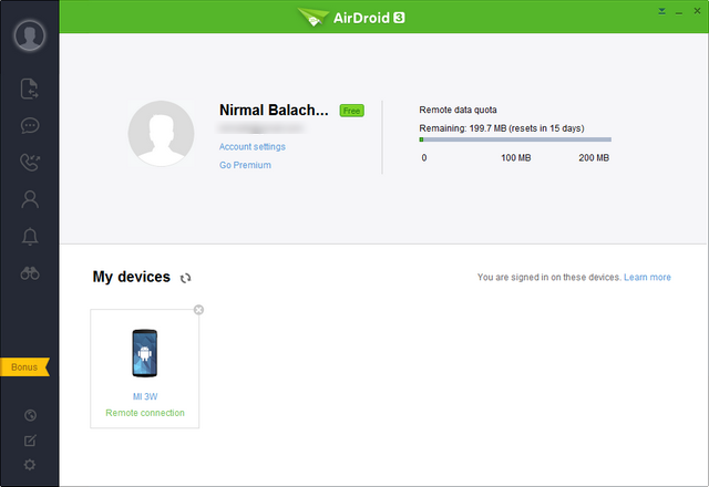 AirDroid 3 home