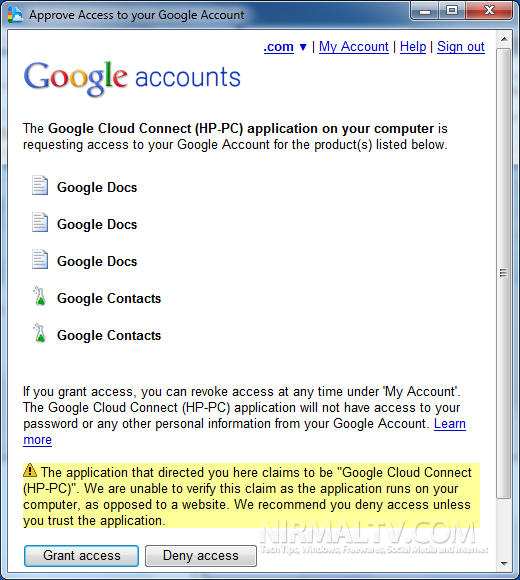 Approve Access to Google