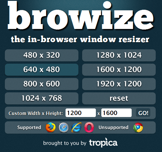 Quickly Resize Browser Window with Browize