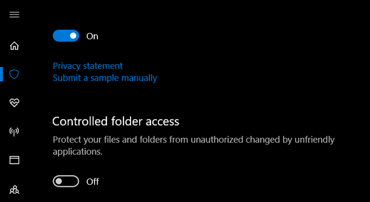 Controlled folder access