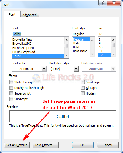 set default font in word 2010 not working