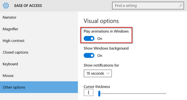 Disable animations in Windows