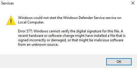 Fix Error 577 on Windows Defender