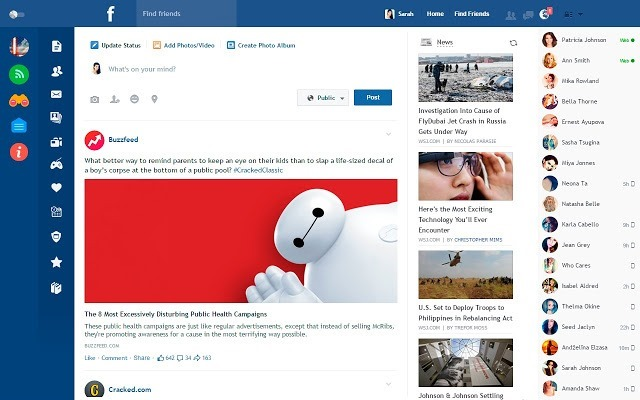 Change Facebook Layout with Flatbook Extension for Chrome