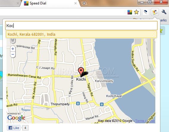 Google Maps Instant with Chrome Extension on