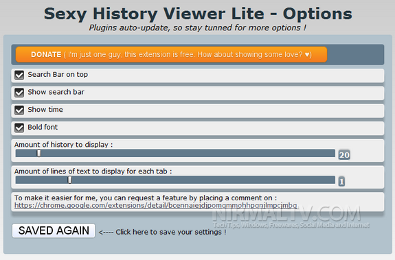 Quickly View Chrome History with History Viewer Lite