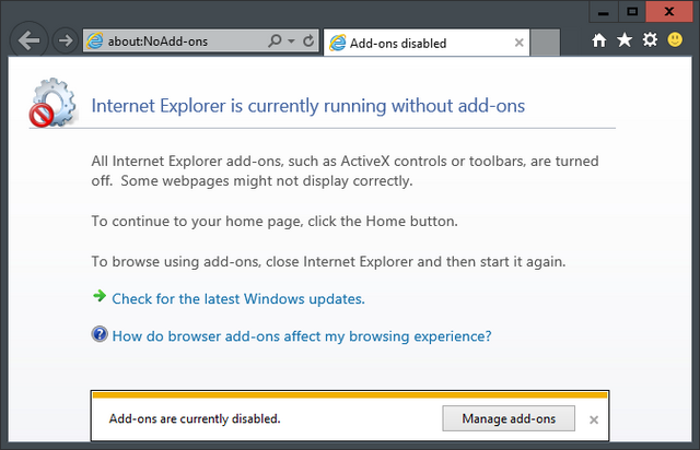 IE without add-ons
