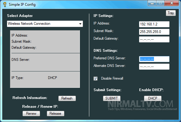 Easily Change Network Settings with Simple IP Config