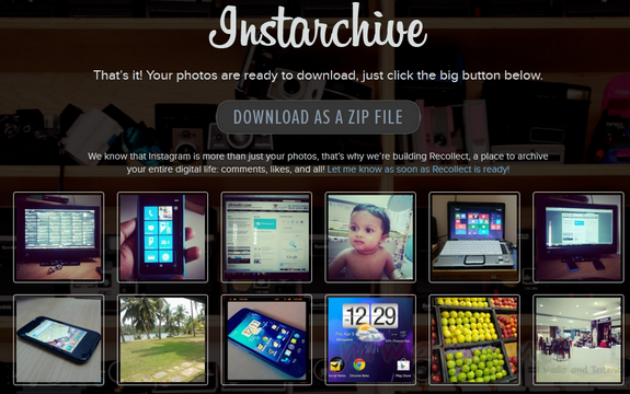 Download Instagram Photos as a Zip File using Instarchive