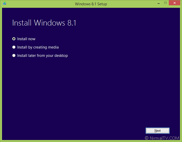 Install Windows now