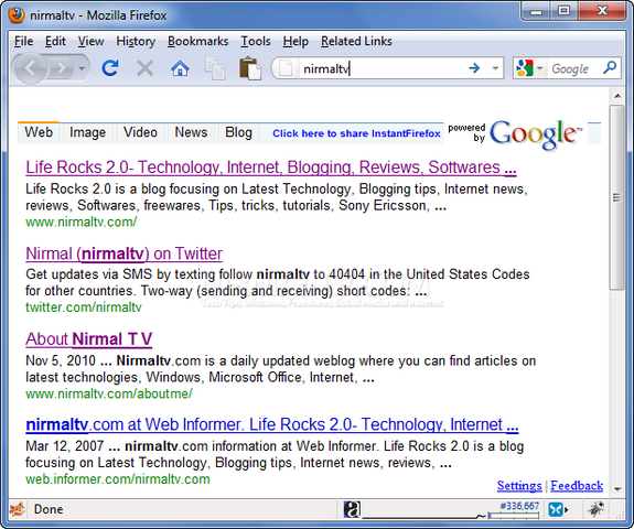 Instant Search results
