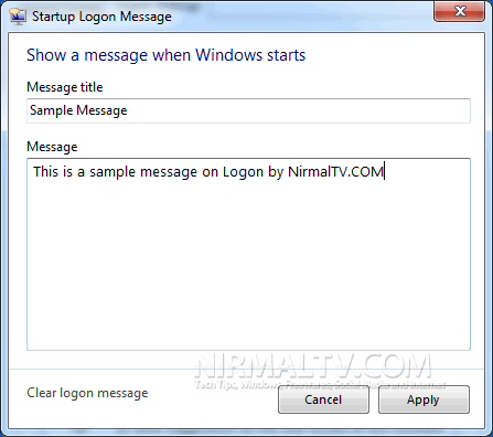 Logon Message