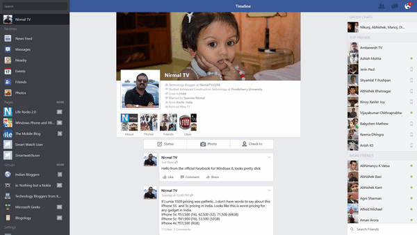 Official Facebook for windows 8