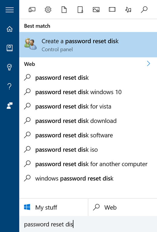 create password reset disk not working windows 10