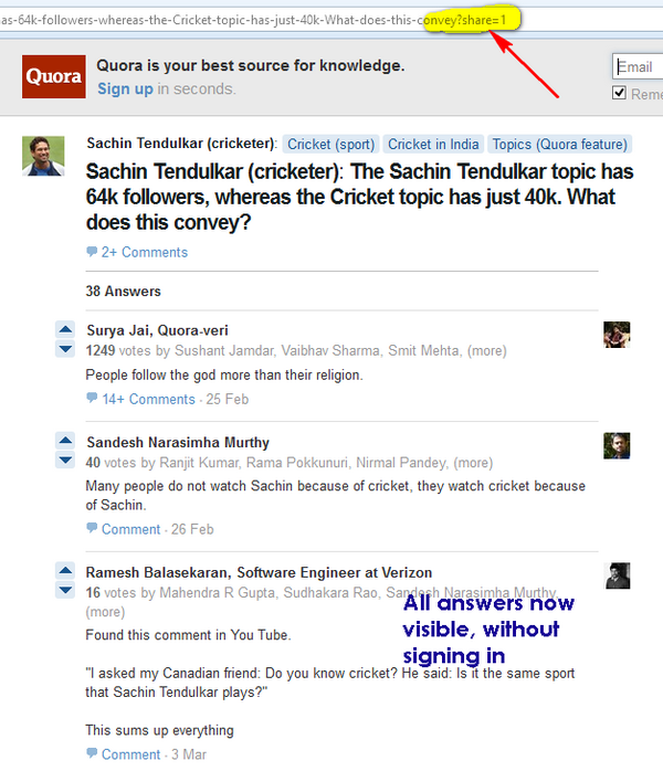 Quora Answers visible