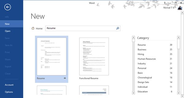 How To Create A Professional Resume For Free With Word 2013