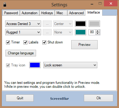 Screenblur settings