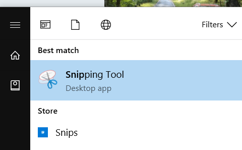 Screenshots in Windows 10