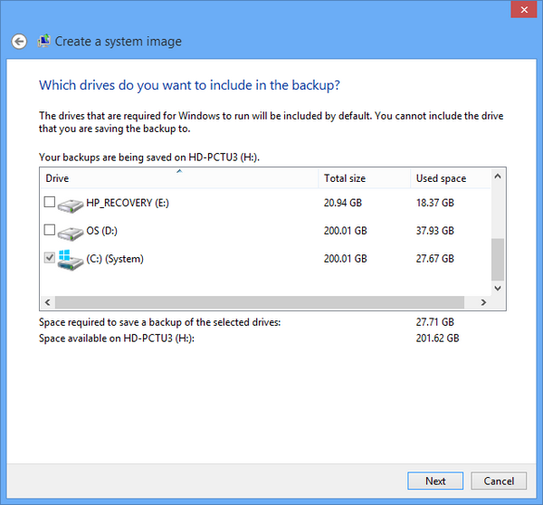 Select the drives