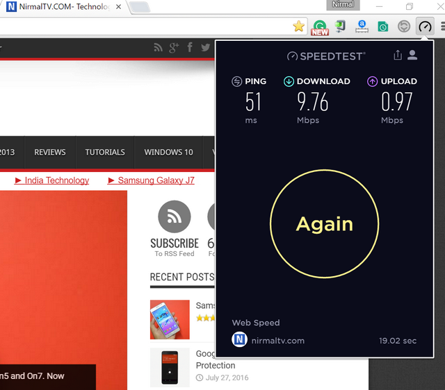 speedtest chrome extension