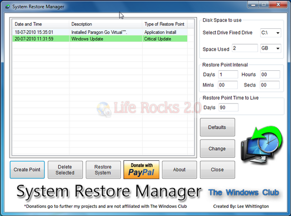 System Restore Manage