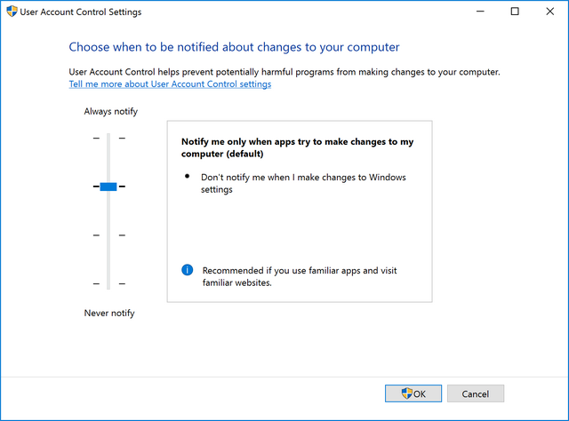 uac changes in windows 10