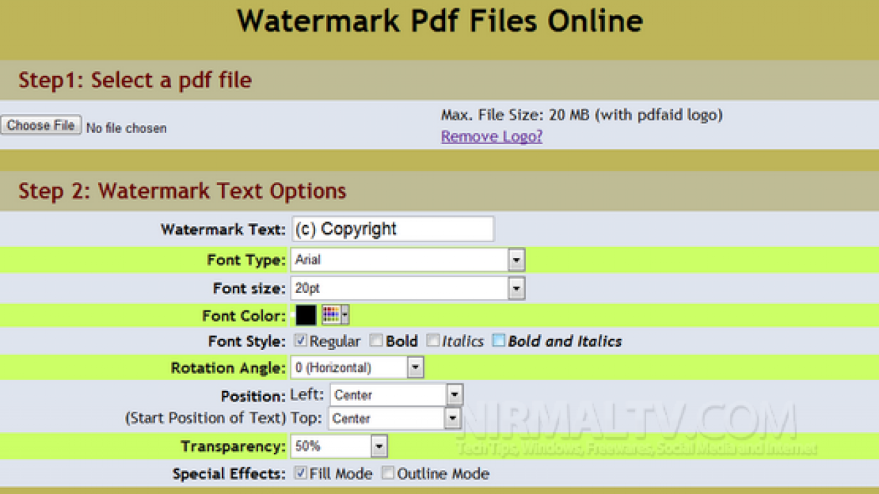 Watermark PDF Files Online with PDFaid