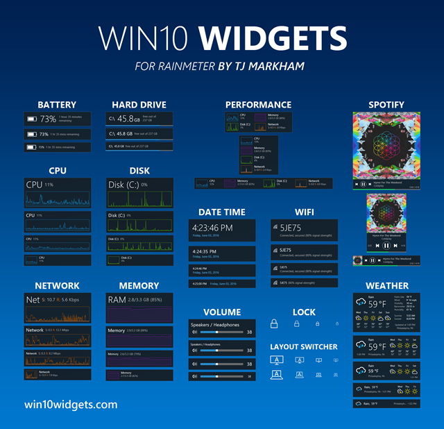 Customize your Windows 10 Desktop with Win10 Widgets