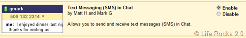 Gmail Chat SMS