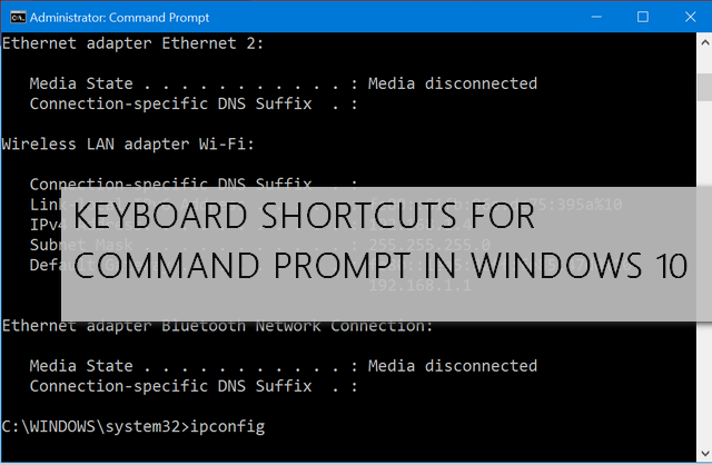 Keyboard Shortcuts for Command Prompt in Windows 10