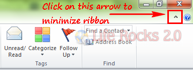 minimize ribbon in outlook