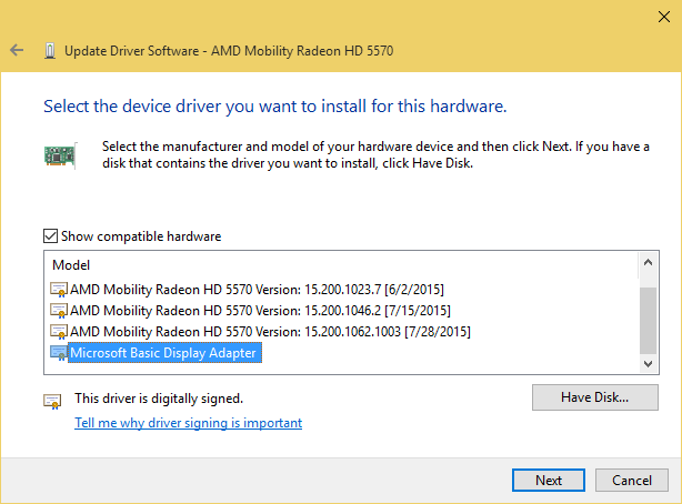 select MSFT driver