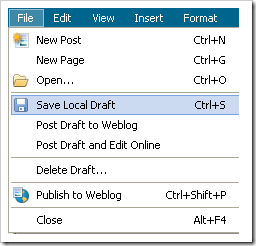 Windows live writer drafts