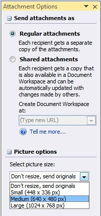 Resize Image Attachments In Outlook 2007