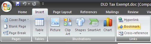 how to read word document bookmarks on a software