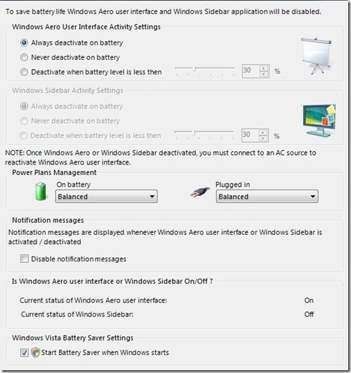 Save battery in Vista