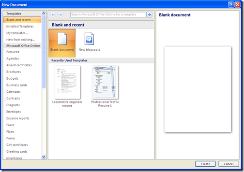 microsoft word templates 2007